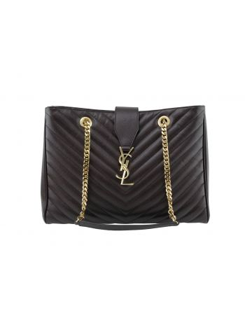 YSL Bordeaux Chevron Shopping Tote