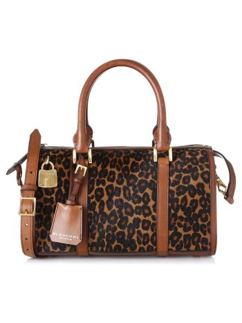 Burberry Brown Leopard Ponyskin Boston Bag