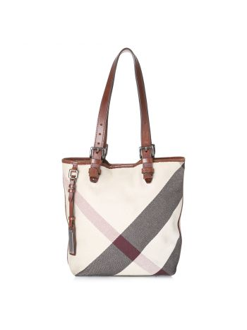 Burberry Brown Mega Check Victoria Tote Bag