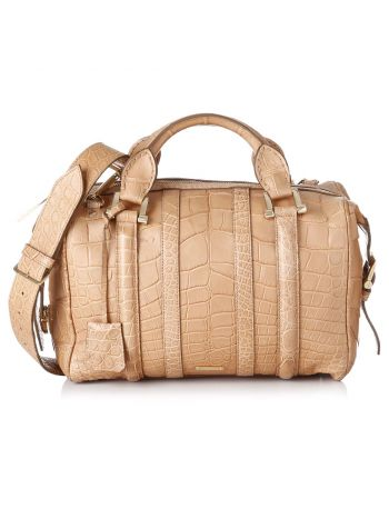 Burberry Brown Nevinson Crocodile Bowling Bag