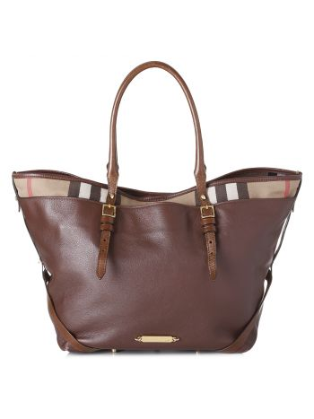Burberry Brown Welburn House Check Tote Bag