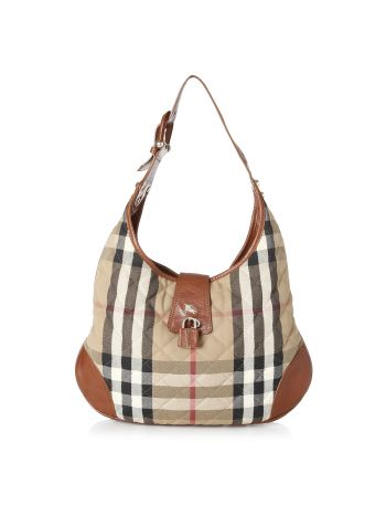 Burberry House Check Quilted Hobo Bag