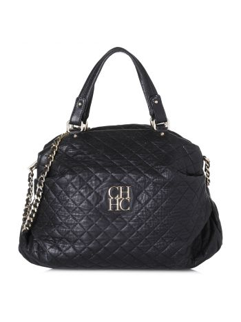 Carolina Herrera Black Quilted Top Handle Bag