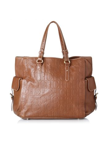 Carolina Herrera Brown Monogram Shopper Bag