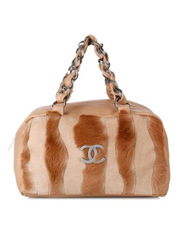 Chanel Beige Vintage Fur and Leather Shoulder Bag