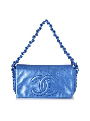 Chanel Blue Metallic CC Chain Flap Shoulder Bag