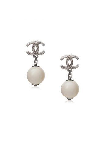Chanel CC Pearl Drop Earrings