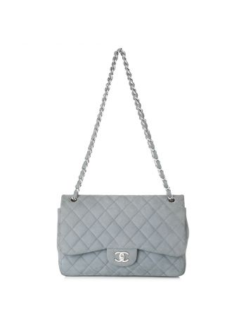 Chanel Gray Double Flap Jumbo Bag