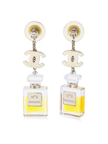 Chanel No 5 Perfume Bottle Drop Earrings