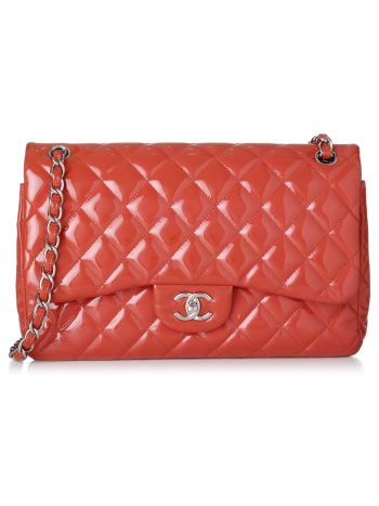 Chanel Red Classic Jumbo Double Flap Bag