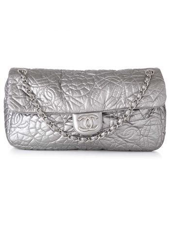 Chanel Silver According Flap Graphic Edge Bag