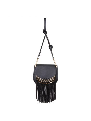 Chloe Black Fringe Hudson Crossbody Bag