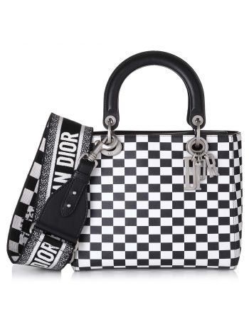 Christian Dior Bicolor Lady Dior Checkered Bag Medium