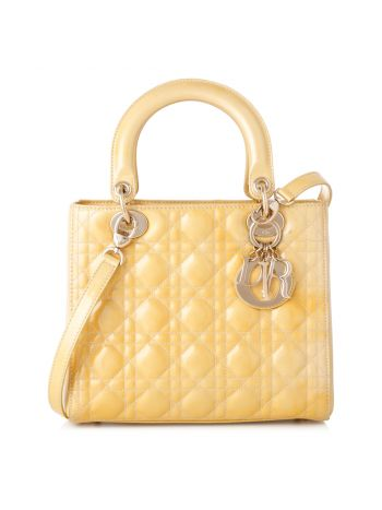Christian Dior Yellow Lady Dior Medium Bag