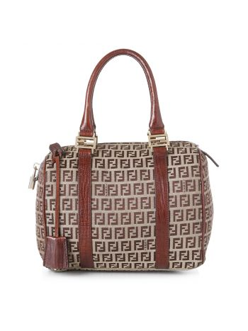 Fendi Brown Tobacco Zucca Boston Bag