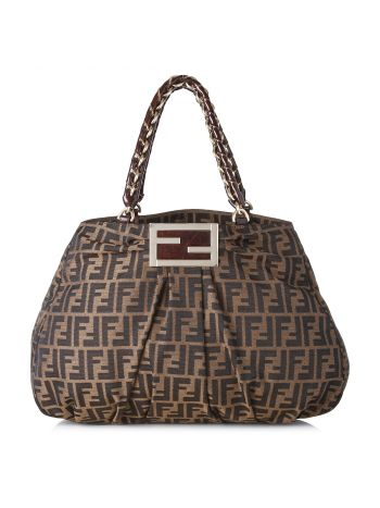 Fendi Tobacco Zucca Print Mia Large Shoulder Bag