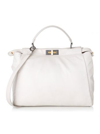 Fendi White Peekaboo with Exotic Detail Bag