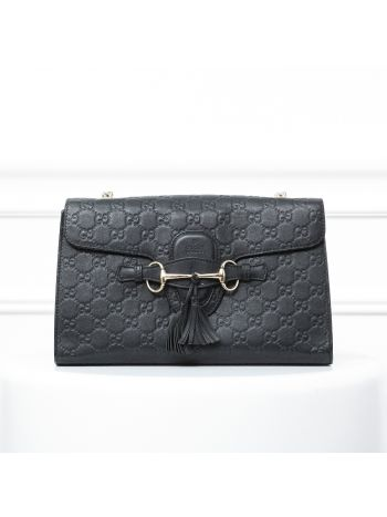 Gucci Black Guccissima Emily Chain Shoulder Bag