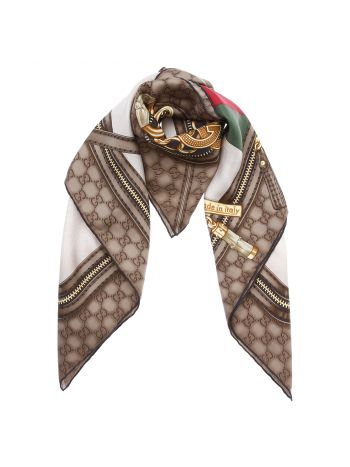 Gucci Multicolor Icon Print Foulard Silk Scarf