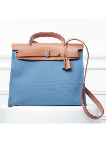 Hermes Light Blue Officier Canvas Herbag ZIP PM