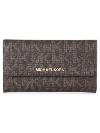 Michael Kors Brown Jet Set Trifold Logo Wallet