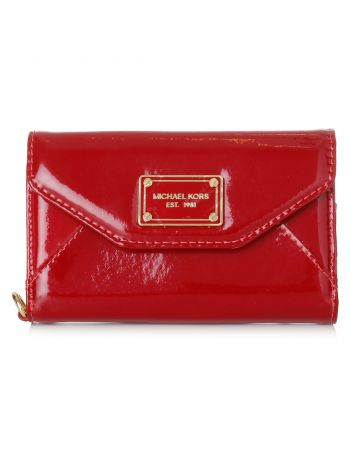 Michael Kors Red patent Wallet Clutch Wristlet Case