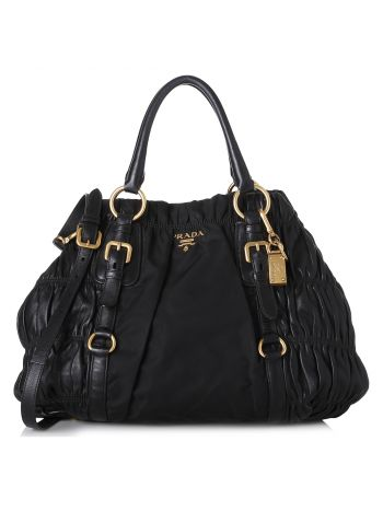 Prada Black Gaufre Tote Bag