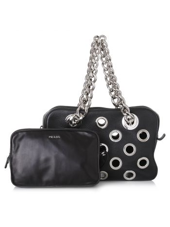 Prada Black Grommet Chain Shoulder Bag