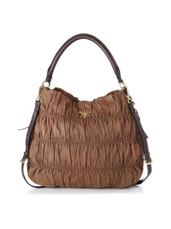 Prada Brown Gaufre Shoulder Bag