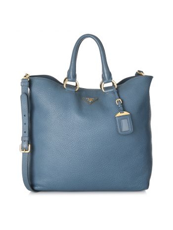 Prada Turquoise Vitello Daino Shopping Tote Bag