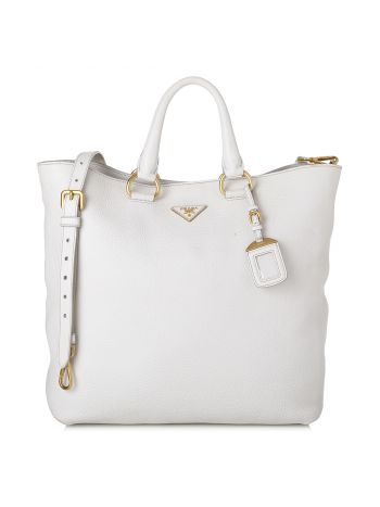 Prada White Vitello Daino Shopping Tote Bag