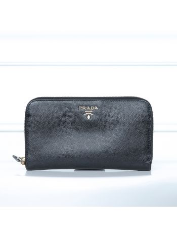 Prada Black Zippy Wallet