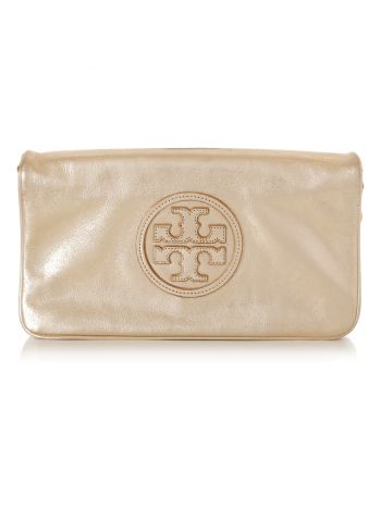 Tory Metallic Gold Burch Reva Clutch