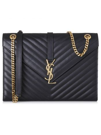 YSL Black monogram Envelope Bag