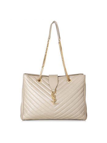 YSL Creme Classic Monogram Shopping Bag