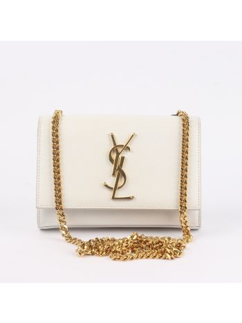 YSL White Classic Kate Small Bag