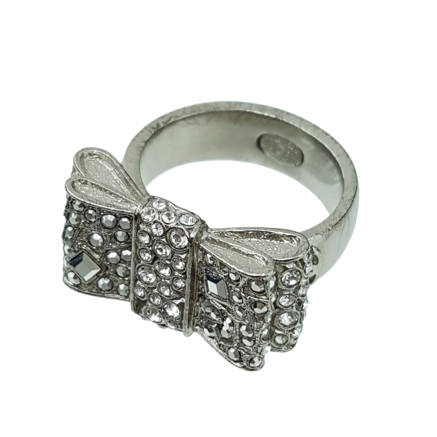 Chanel Silver Finish Bow Ring 7