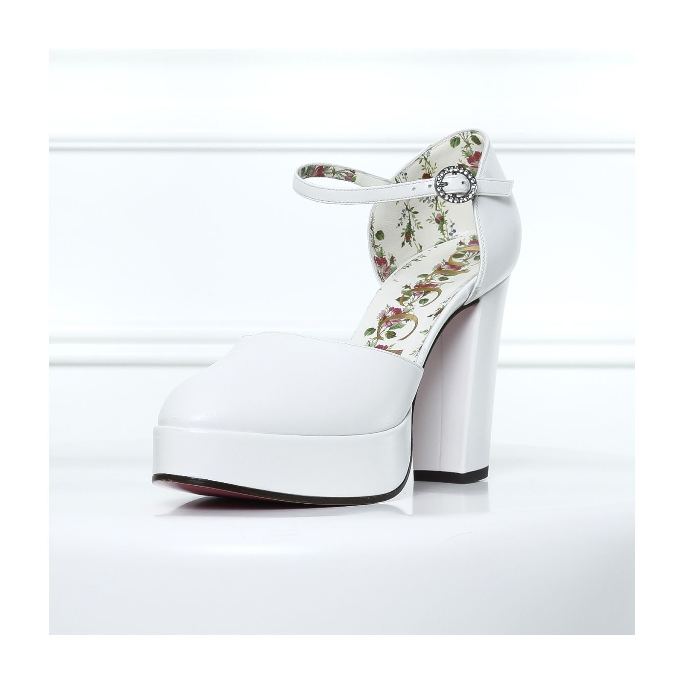 Gucci White Platform Ankle Strap Pumps Size 37.5
