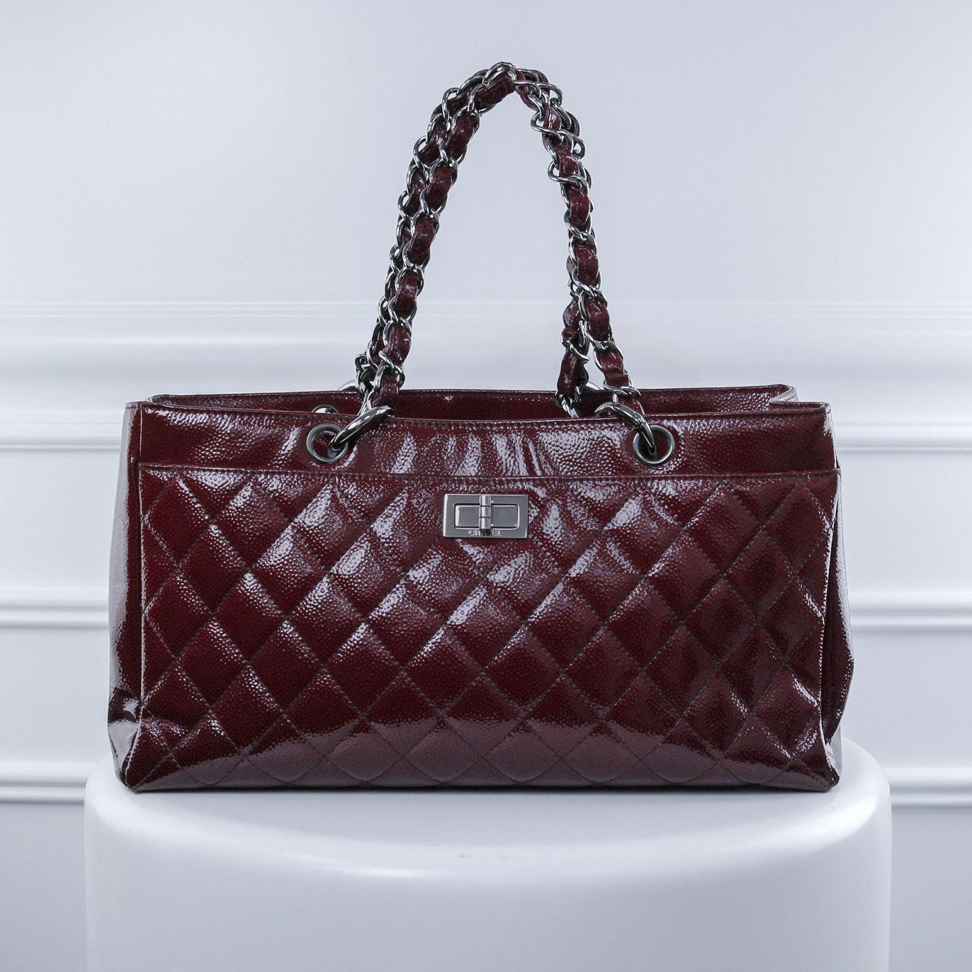 Chanel Dark Red Reissue Shopping Tote Bag