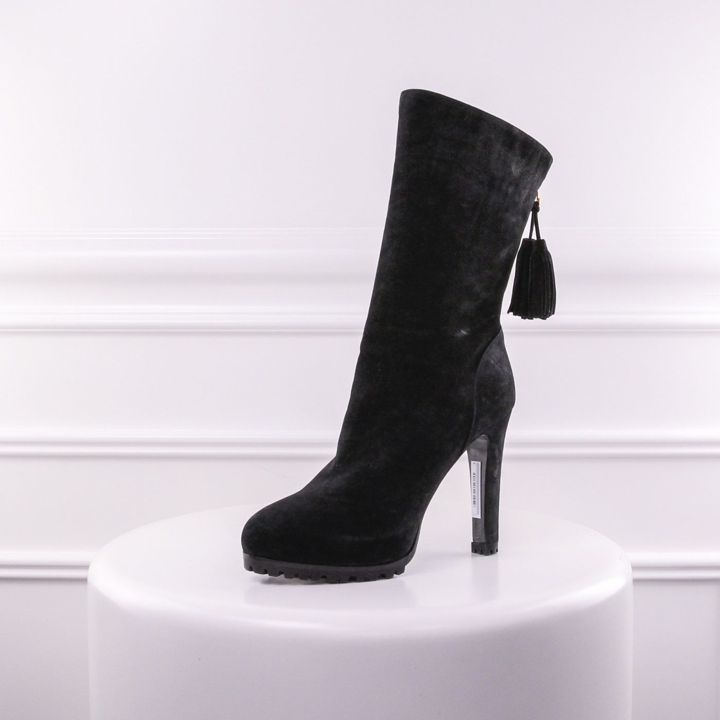 YSL  Passy Black Suede Boots 38.5