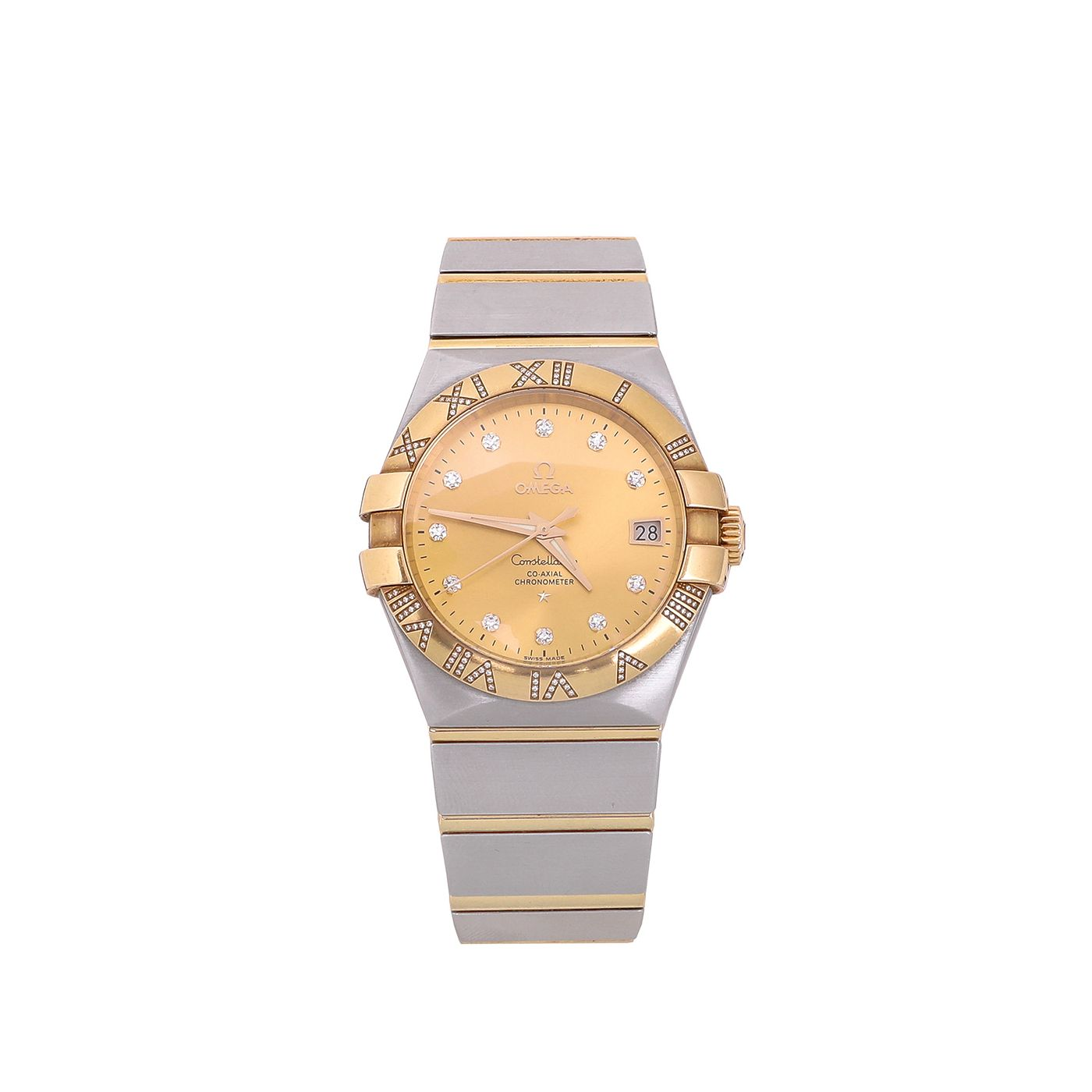 Omega 18K Yellow Gold Constellation Co Axial w Diamond Watch