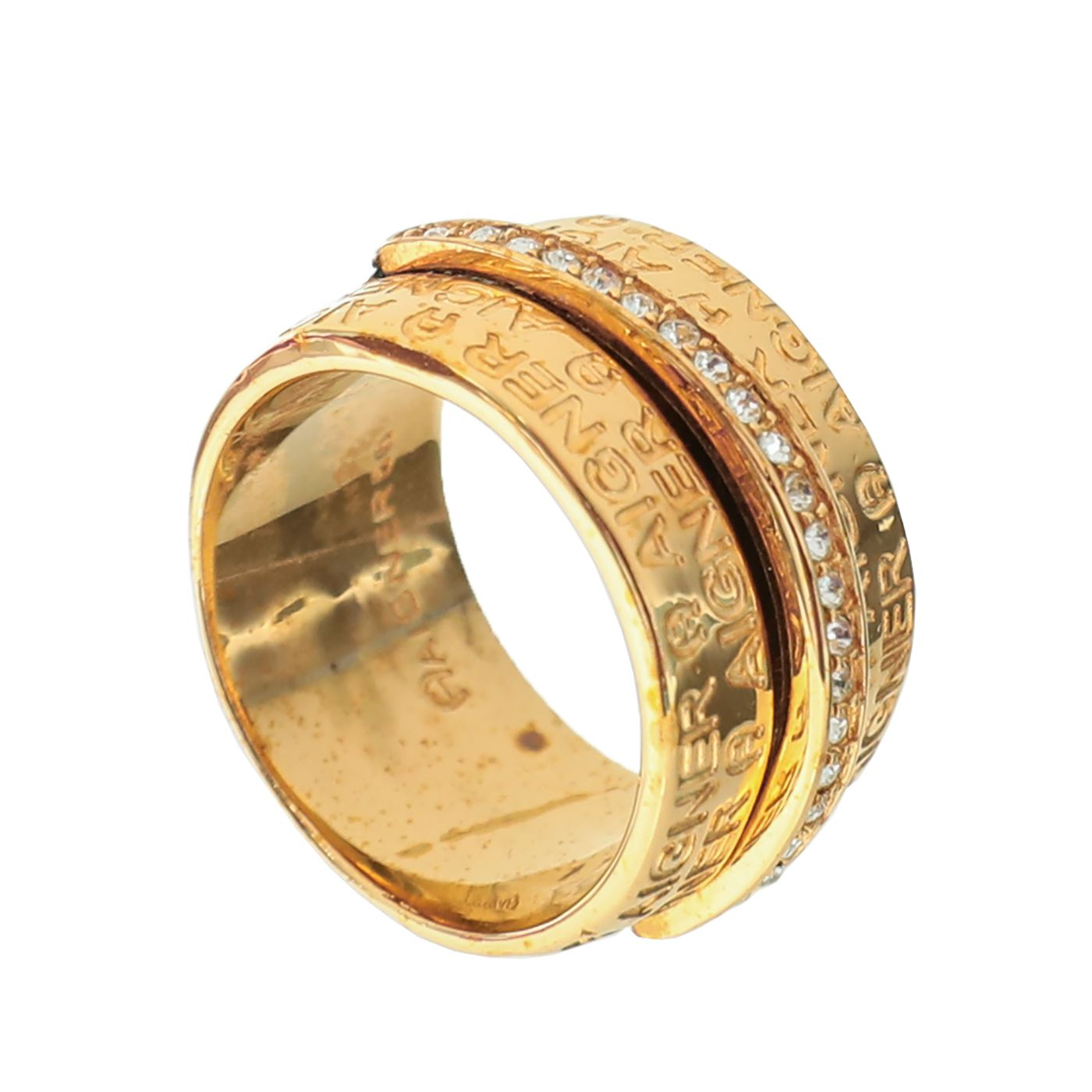 Aigner Gold with Rhinestones Ring 56