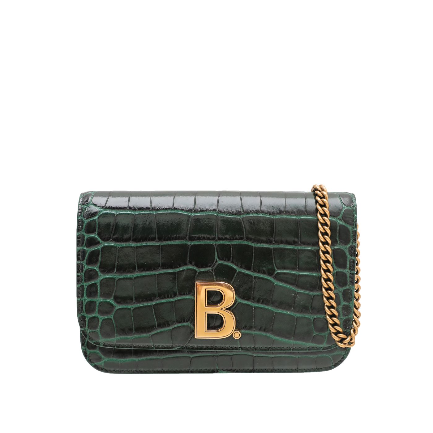 Balenciaga Forest Green Croco Embossed B. Wallet On Chain
