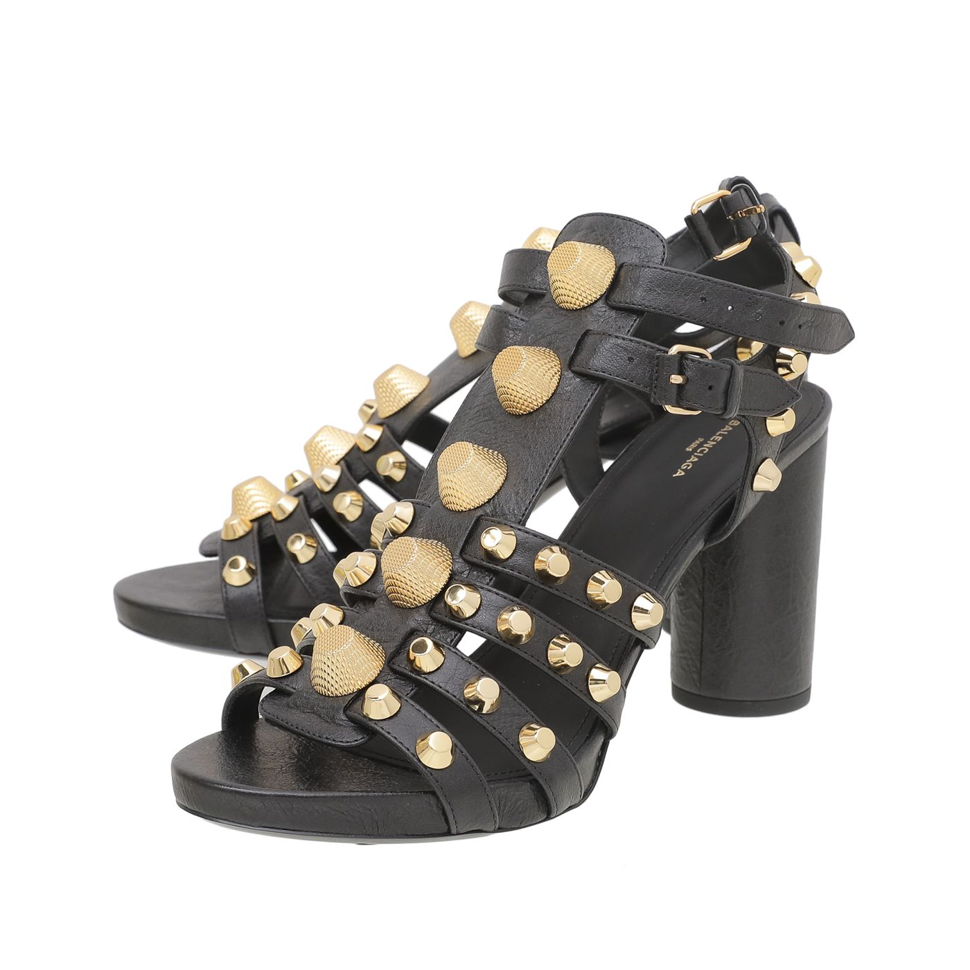 Balenciaga Black Giant Studded Gladiator Sandals 40