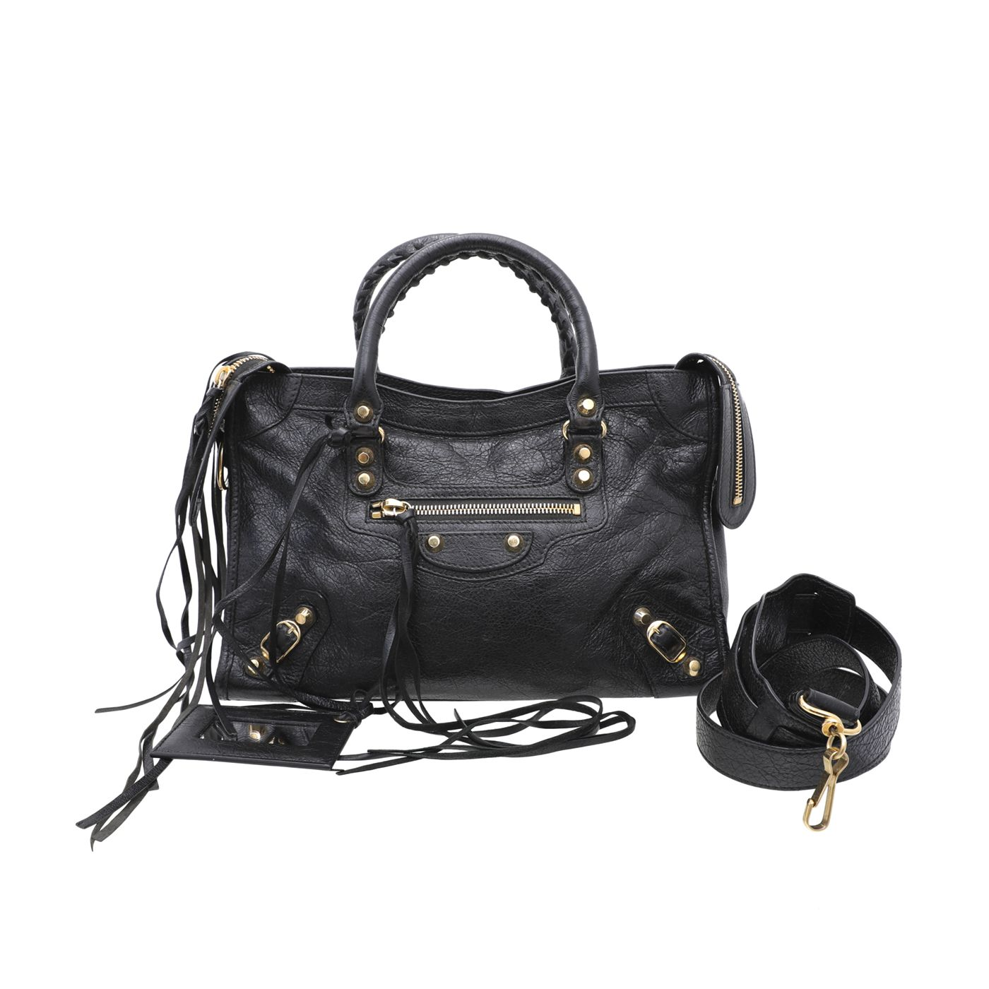 Balenciaga Black Classic Gold City Small Bag