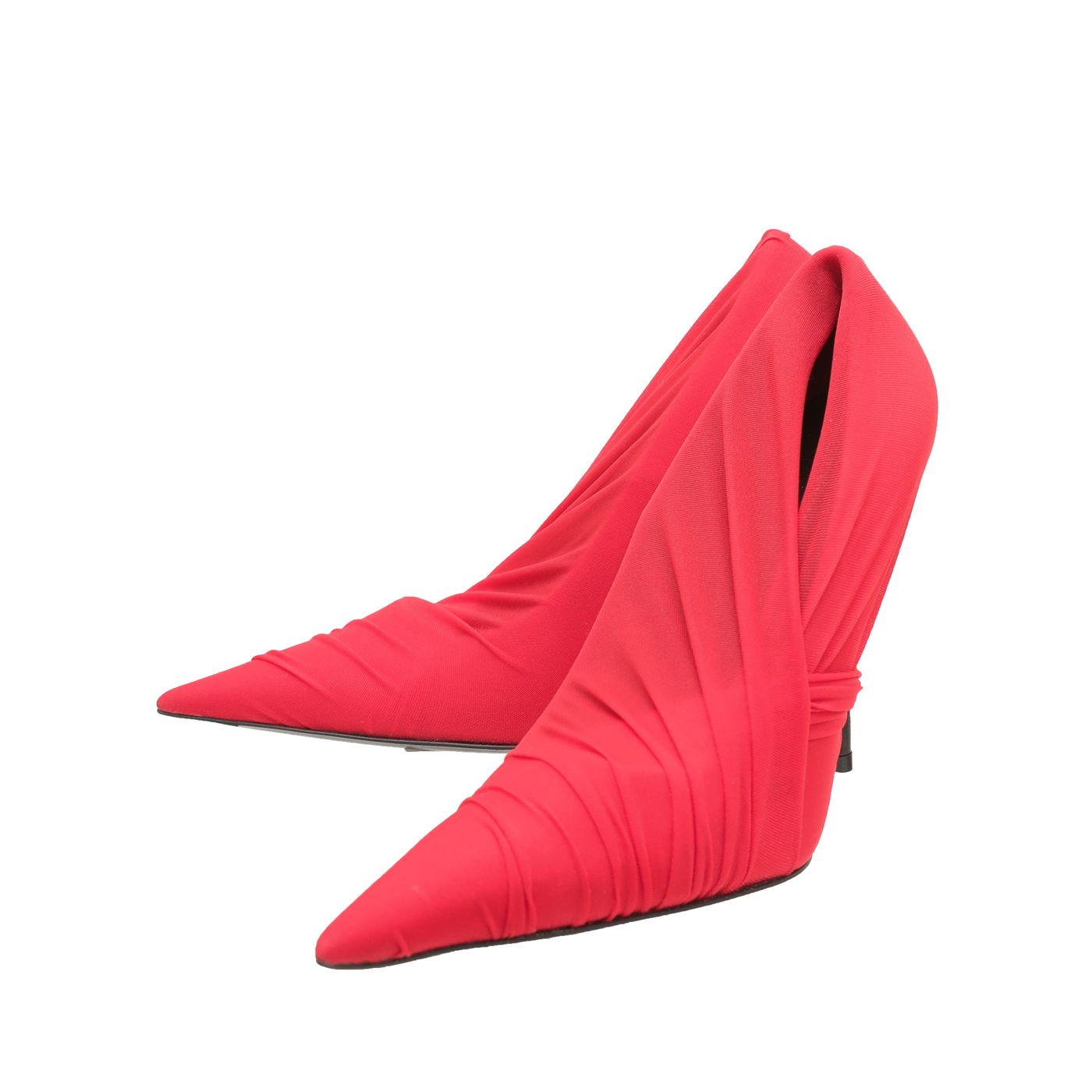Balenciaga Red Jersey Drape Knife Pointed Pumps 37.5