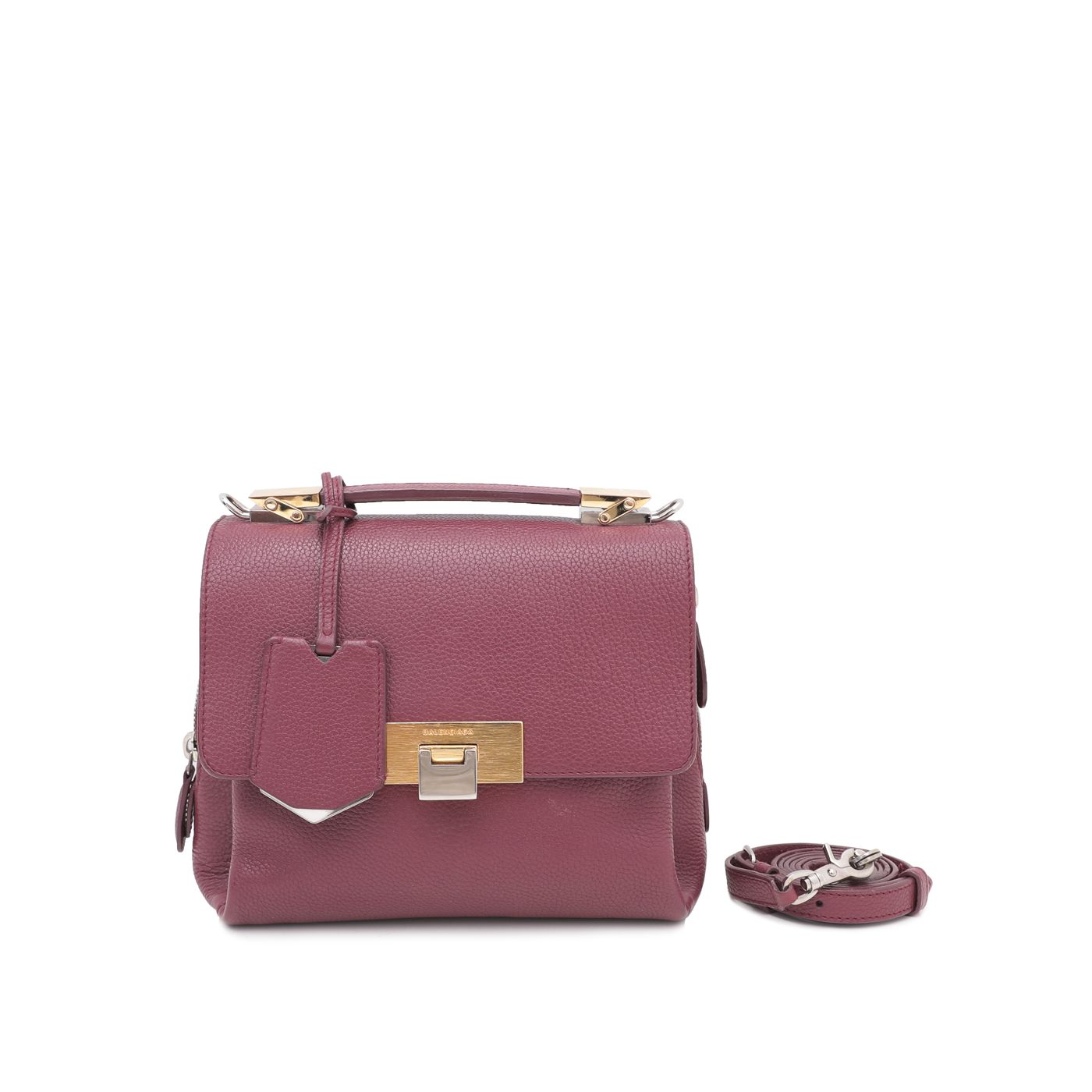 Balenciaga Rouge Pourpre Mini Le Dix Soft Cartable Bag