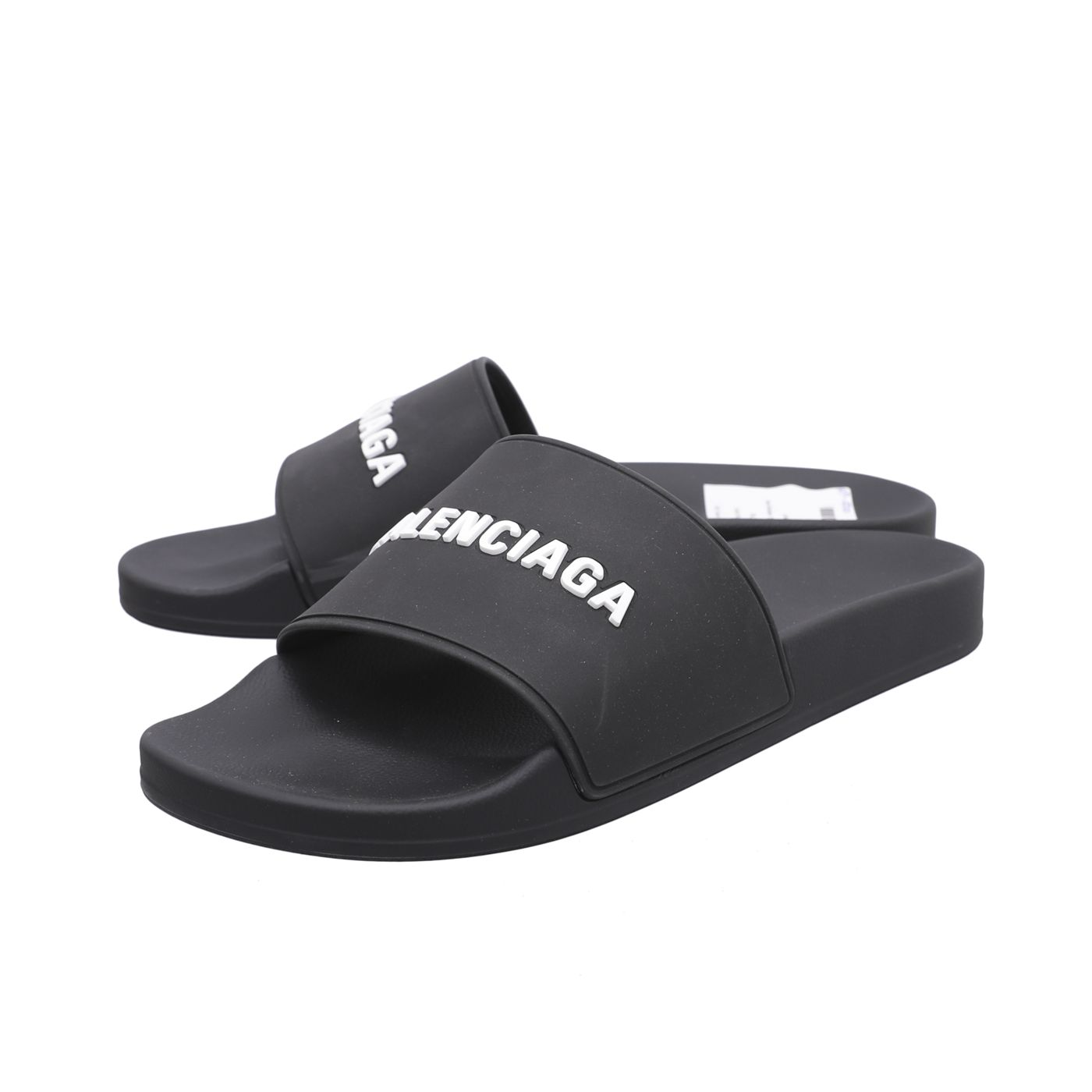 Balenciaga Black Rubber Pool Sandals 42