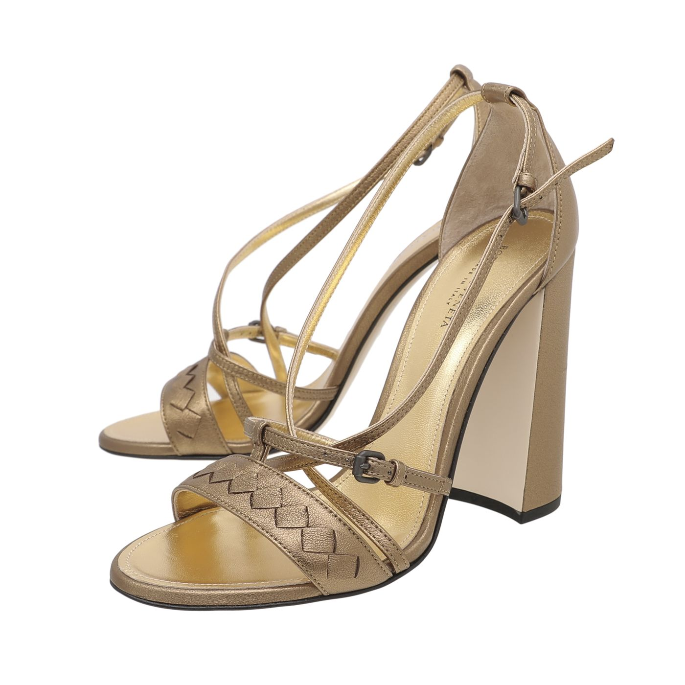 Bottega Veneta Metallic Gold Cross Strap Sandals 115mm 38