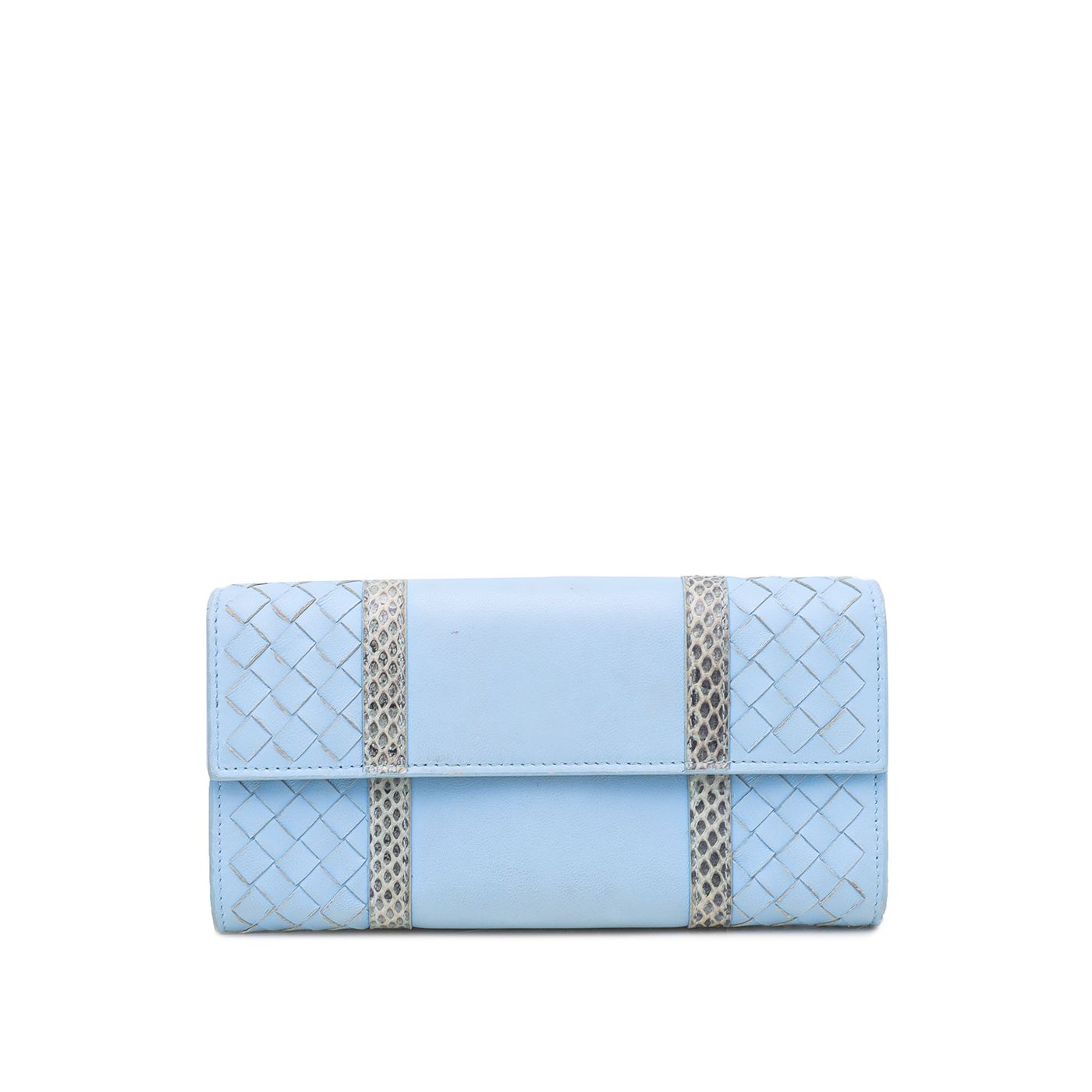 Bottega Veneta Light Blue Snakeskin Continental Flap Wallet